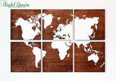 World Map Large Artwork Painting on Stained Wood Panels - Customizable Gift on Etsy, $245.00