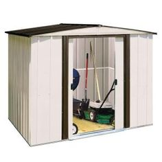 $199 6'x8' garden shed. I just need decent structure to keep the lawn mower in. Probably will hide with tall bamboo and/or climbing vine of some sort.