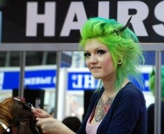 legit awesome green. i was always weary of green in hair in any large amount.