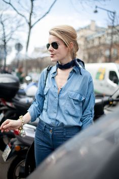 Double denim with a neck scarf and aviators.