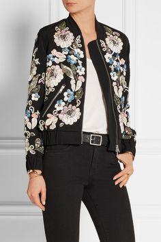 Needle & Thread | Oriental Garden embellished crepe bomber jacket | Bomber jacket fabric options