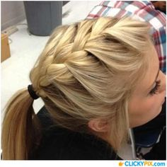 French Braid Ponytail: French braid your hair from the top of your head back and then secure with an elastic. Half French Braids, French Braid Ponytail, French Braid Hairstyles, Ponytail Hairstyles, Summer Hairstyles, Girl Hairstyles, Wedding Hairstyles, School Hairstyles, Updo Hairstyle