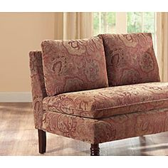 @Overstock.com - Bordeaux Nutmeg Paisley Loveseat - Give your living area a new look with this red paisley loveseat. The armless loveseat features a durable wood construction with paisley upholstery done in a rich color scheme, turned front legs with casters, and two loose back cushions.  http://www.overstock.com/Home-Garden/Bordeaux-Nutmeg-Paisley-Loveseat/4612090/product.html?CID=214117 $260.99