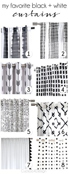 my favorite black and white curtains which would look nice with any style of home decor