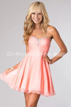 2014 Unique  Homecoming Dresses A Line Sweetheart Short/Mini Chiffon Beaded