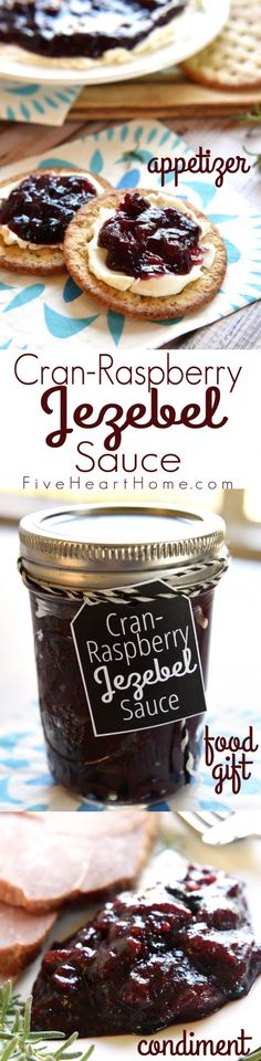 Cran-Raspberry Jezebel Sauce ~ with its bold horseradish kick, this sweet and spicy, versatile sauce can be poured over cream cheese as an appetizer, served alongside holiday ham or turkey as a condiment, or given as a homemade food gift in a jar! | FiveHeartHome.com