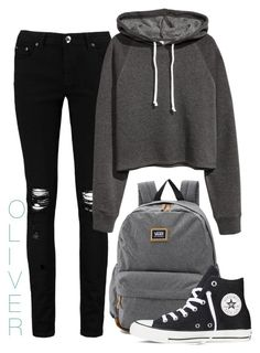 """""""#32"""" by eli-butch ❤ liked on Polyvore featuring Boohoo, H&M, Vans and Converse"""