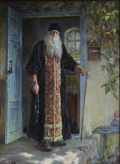 Starets elder Anastasiy At The Age Of 100 years oil canvas Dimensions 230 x 170 cm 90 x 76 inches The artwork is in the funds of Russian Academy of Art Sculpture and Architecture named after Glazunov Other works by this Master Chubakov Anton Russian Painting, Russian Art, Eslava, Exotic Art, Ukrainian Art, Russian Orthodox, Byzantine Icons, Orthodox Christianity, Orthodox Icons