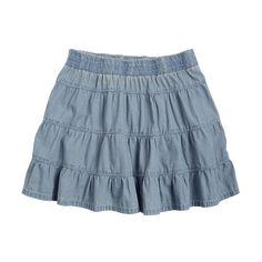 Chambray Tiered Skirt ($9.99) ❤ liked on Polyvore featuring skirts, mini skirts, bottoms, saias, faldas, tiered skirt, blue mini skirt, blue skirt, elastic waist skirt and chambray skirt
