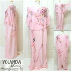 """Chicago Designer ~ YOLANDA LORENTE Gown with attached asymmetrical Cape. """"Hand Painted"""" on Silk. Size XL. One of a Kind/RARE! $345 or Best Offer.  SOLD"""