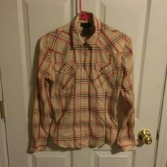 THE LIMITED STRETCH button up plaid top Gorgeous Pink/orange/ cream plaid shirt by THE LIMITED Stretch. Has western style PEARL like SNAPS. Has shaded of orange, brown and pink stripes over cream color.bCotton with 37% nylon and 7% spandex. Smoke and pet free home. Excellent condition. The Limited Tops Button Down Shirts