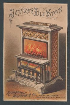 Boynton's Tile Stove - Trade Card  Great card for a heating stove, unusual thus.  A large card beautifully printed by Major & Knapp in NY  and not often seen, for Richardson Boynton & Co. New York City.  Fine condition with the distributors   name in ink on reverse.  Dimensions:  4-1/8 x 6-5/16  SOLD $157.89