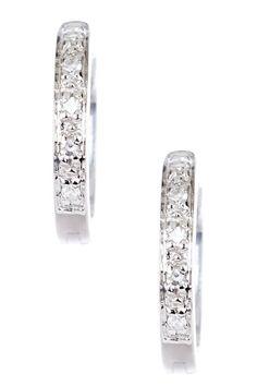 14K White Gold Diamond Hoop Earrings - 0.05 ctw by Savvy Cie on @HauteLook