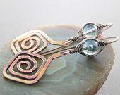 Artisan Greek spirals copper earrings with herringbone wrapped aqua blue mystic quartz beads