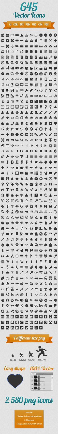 645 Vector Icons Pack.