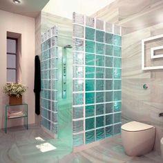 Amazing Glass Brick Shower Division Design Ideas - Page 14 of 41 - Farhah Decor Master Bathroom Shower, Small Bathroom, Modern Bathroom Design, Bathroom Interior, Bathroom Furniture, Kitchen Interior, Glass Block Shower, Glass Brick, Bathroom Pictures