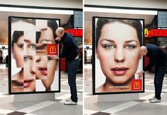 McDonald's Sort Your Head Out Campaign; shuffle the pieces around to sort out the model's head. The empty square displays McDonald's logo. Creative Advertising, Out Of Home Advertising, Advertising Campaign, Guerrilla Advertising, Interactive Poster, Interactive Exhibition, Interactive Installation, Street Marketing, Guerilla Marketing