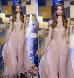 Show your best to all people even in the evening and then get  Blush 2015 Elie Saab Formal Evening Dresses Formal Long Prom Gowns With Gold Lace Applique A Line Crew Neck Chiffon Bridesmaid Dresses in kissbridal001 and choose wholesale evening maternity dress,size 16 evening dresses and full length evening dress on DHgate.com.