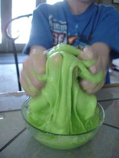 Craft Lab: Slime Time.  How to do the experiment:  Homemade Slime Recipe    Borax  White Glue  Water  Food Coloring (optional)  Ziploc bag
