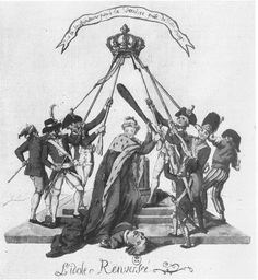 """""""The Idol Overturned."""" France, portrayed as a beautiful woman with robe of the Bourbon monarchy and armed with a club, appears triumphant over the fallen Louis XVI, while soldiers, members of the National Guard, and ordinary citizens hold the crown of France on high, a gesture suggesting the need for a new monarch, c1791."""