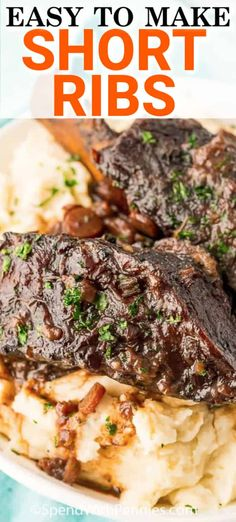 Braised Beef Short Ribs are a juicy, flavorful and tender main dish! Worth every moment of prep! - Beef Short Ribs are a deliciously tender main dish that practically falls off the bone! Braised and - Beef Short Ribs Oven, Cooking Short Ribs, Braised Short Ribs, Braised Beef, Slow Cooker Short Ribs, Beef Dishes, Food Dishes, Main Dishes, Beef Recipes For Dinner