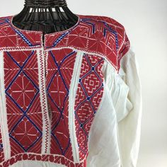 San Vicente Mexican Embroidered Blouse, Medium & Large Sizes