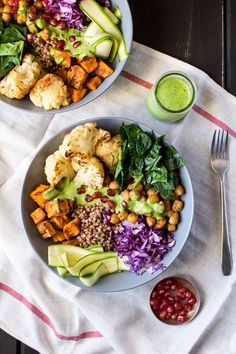 Winter goodness bowl with a green sauce makes a healthy and filling lunch for busy days as you can prepare individual components in bulk ahead of time.