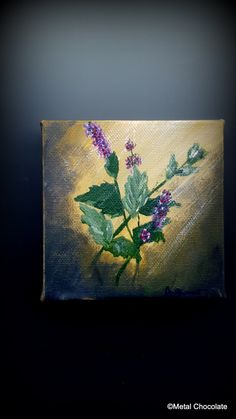 Small Mint Original Painting by Amy Brandum 4x4 by MetalChocolate