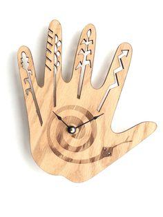 Native American hand clock. wood wall clock, wood clock, wall clock wood, clock, wall clock, large wall clock, hand clock wall art