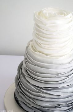 Love this grey ombre cake! #ombre #cake #decorating #frosting