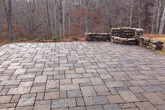 stone paver patio in modified herringbone pattern with moss stone fire pit Hoover, AL