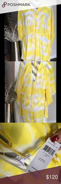 NWT BCBGeneration Yellow Romper. Sz M NWT!!!! BCBGeneration Yellow Romper. Adjustable at neck and waist. Sz M. Perfect condition. BCBGeneration Dresses