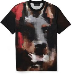 GIVENCHY  DOBERMAN-PRINT COTTON-JERSEY T-SHIRT $765 EDITORS' NOTES Givenchy's graphic T-shirts are firm style favourites and this version features an exploded all-over doberman design for a particularly bold look. Printed for a painterly effect, this is a refined option from the powerful Parisian label.