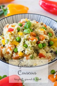 Gemüse Couscous – herzhaft, gesund & bunt Vegetable couscous – a healthy, delicious meal for children and adults. Couscous with carrots, peppers, mushrooms and peas – a quick vegetable pan. Salad Recipes Healthy Lunch, Salad Recipes For Dinner, Chicken Salad Recipes, Easy Healthy Recipes, Baby Food Recipes, Dinner Healthy, Easter Recipes, Salads For A Crowd, Easy Salads