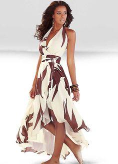 Brown Print Halterneck Maxi Dress