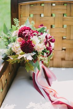 romantic garden rose, raspberry clematis, ranunculus, dahlia, smoke bush and maple foliage bouquet with seeded eucalyptus by TULIP Diy Wedding Bouquet, Diy Bouquet, Bride Bouquets, Bridesmaid Bouquet, Floral Wedding, Fall Wedding, Wedding Flowers, Wedding Ideas, Flower Bouquets