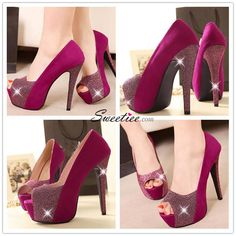 Sweet Round Peep Toe Super High Stiletto Rose Suede Pumps Peep Toe Heels, High Heels, Crystal Jewelry, Silver Jewelry, Fashion Shoes, Fashion Jewelry, Suede Pumps, Wedge Shoes, Lips