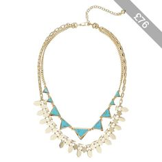 Vera Bradley Triangle Double Statement Necklace (Gold Tone) Necklace