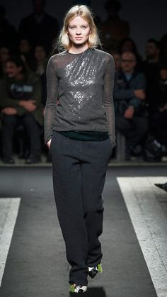 Fall Runway Styling Tips:  Layer a Fine Knit Over a Shimmery Top  Employ this pairing for days when you don't have time to change between work and cocktail hour, or when you want to wear that sleeveless shimmering top during cooler temps.
