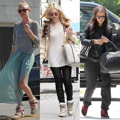 """Kate Bosworth was spotted in Beverly Hills wearing a mint green pleated skirt that she styled with a grey sweatshirt and her favourite Isabel Marantsuede and leatherwedge sneakers.    Dakota Fanning also wore the sameIsabel Marant shoes teamed with casual separates and a white Celine bag.    Jennifer Love Hewitt rocked a laidback outfit consisting of a grey top, black blazer and slouchy pants paired with Ash """"Bowie"""" suede wedge sneakers."""