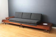 Mid-Century Modern Sofa by Martin Borenstein better on wheels Bedroom Lamps Design, Living Room Sofa Design, Fine Furniture, Sofa Furniture, Furniture Design, Cheap Furniture, Mid Century Modern Sofa, Mid Century Modern Furniture, Wooden Sofa Set Designs