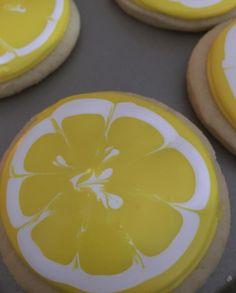 Lemon Royal Icing Sugar Cookies by @cookiesbykatewi #lemons #wetonwet #marbling