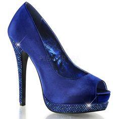 Satinado Azul Piedras Strass 13,5 cm - Plataforma Zapato de Salon