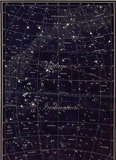 LARGE Vintage Constellations Capella, Perseus, Orion and Eridanus Map LARGE Star Chart Original 1950