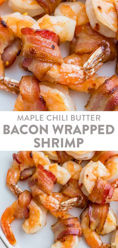 Tender shrimp wrapped in bacon, baked in the oven until crispy. Tossed with a sweet and maple butter glaze, great for an appetizer or main course. Quick And Easy Appetizers, Easy Appetizer Recipes, Healthy Appetizers, Shrimp Appetizers, Kitchen Recipes, Whole Food Recipes, Vegetarian Recipes, Bacon Wrapped Shrimp, Main Meals