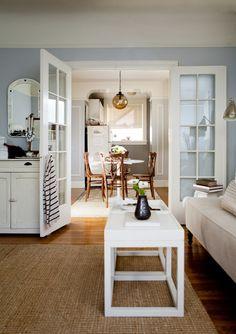 Caitlin's Small, Stylish San Francisco Home  • bathroom and kitchen: Chelsea Gray: Benjamin Moore • dining, living and bedroom: Harbor Grey: Benjamin Moore
