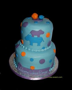 blue purple and orange hippo baby shower cake by Simply Sweets, via Flickr