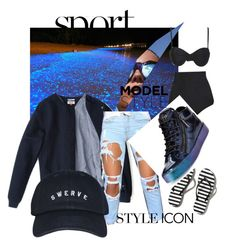 """""""Swerve to this bad beech"""" by naturallydee ❤ liked on Polyvore featuring Le Specs, Abercrombie & Fitch, Beach Riot, Giuseppe Zanotti, women's clothing, women's fashion, women, female, woman and misses"""