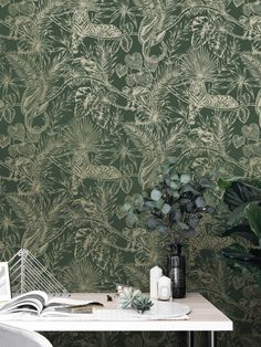 This gorgeous Sumatran Wallpaper will make a unique focal point in your home. The stylish design features tropical plants and foliage as well as exotic monkeys, lemurs, toucans and tigers all in a beautiful sparkling metallic gold finish. This is set on a deep green background with a smooth matte finish for a stunning contrast. Easy to apply, this high quality wallpaper would look great as a feature wall, or equally as good when used to decorate a whole room. Plant Wallpaper, Tropical Wallpaper, Paper Wallpaper, Flower Wallpaper, Lemurs, High Quality Wallpapers, Green Flowers, Green Backgrounds, Tropical Plants