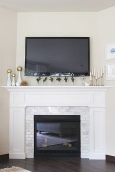 5 Stupefying Tips: Stucco Fireplace Outdoor victorian fireplace bookshelves.Wood Fireplace Hide Tv fireplace and tv texture.Old Fireplace Tile. Tv Over Fireplace, Fireplace Redo, Fireplace Remodel, Brick Fireplace, Fireplace Surrounds, Fireplace Design, Fireplace Ideas, Simple Fireplace, White Fireplace Surround